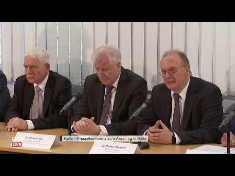Pressekonferenz zum Attentat in Halle u.a. mit Innenmin ...