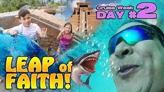 LEAP OF FAITH!!! Water Slide with Sharks!  Atlantis Bahamas [CRUISE WEEK DAY 2]