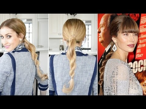 Rope Braid Ponytail Inspired By Jessica Biel | Fancy Hair Tutorial
