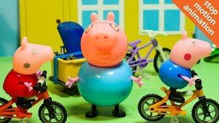 СВИНКА ПЕППА катается на велосипеде. Мультфильм из игрушек Peppa Pig на русском. Stop motion