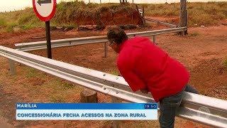 Moradores da zona rural de Marília questionam fechamento de acessos próximos a pedágio