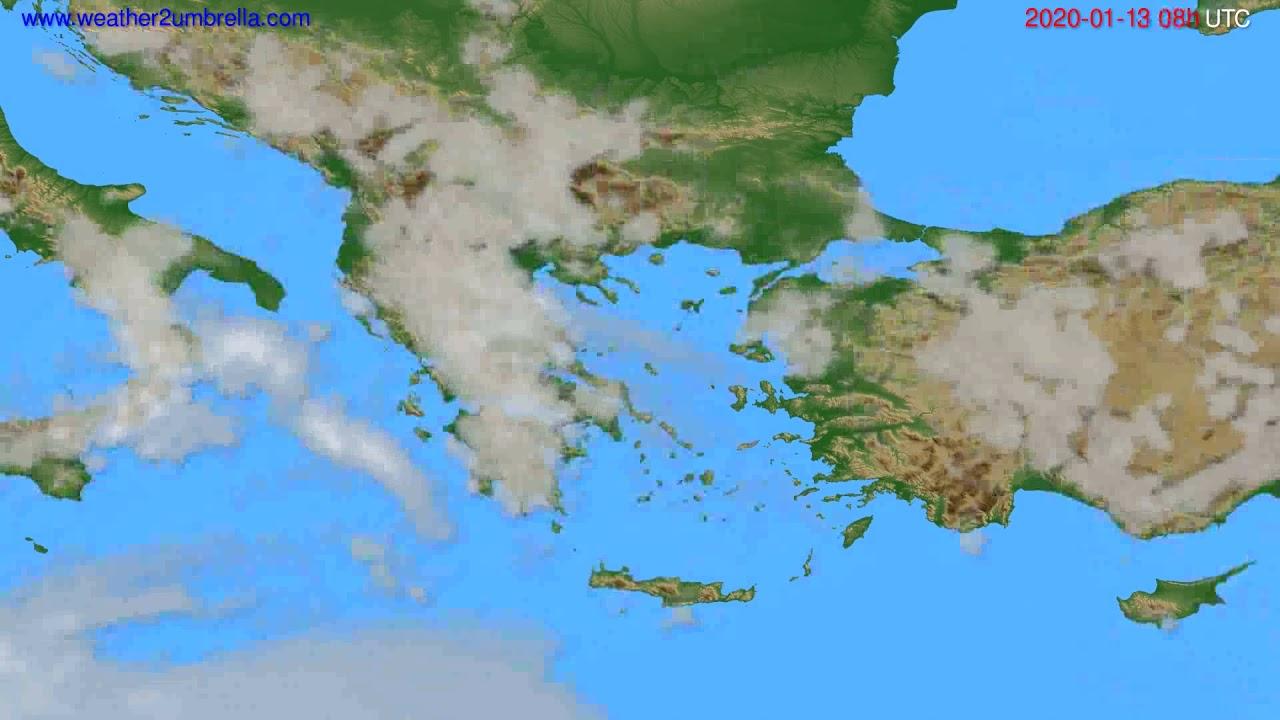 Cloud forecast Greece // modelrun: 12h UTC 2020-01-12