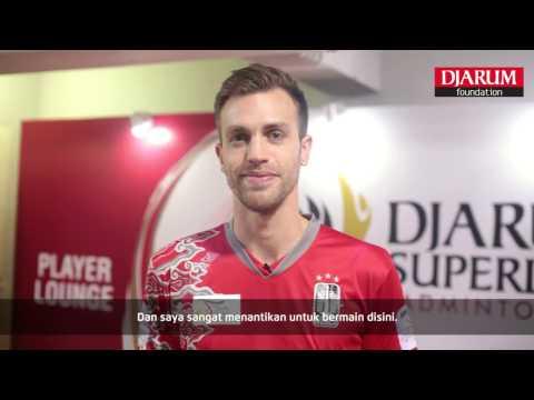Marc Zwiebler at Player's Lounge Djarum Superliga Badminton 2017 (видео)
