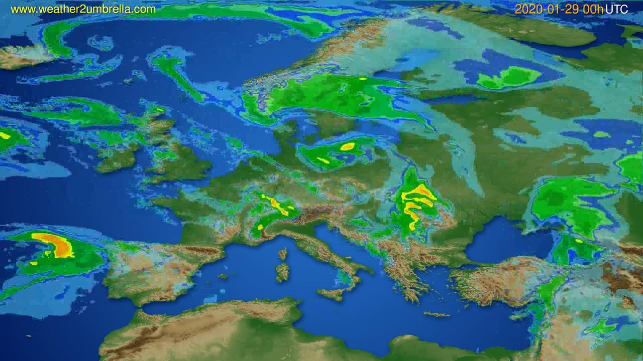 Radar forecast Europe // modelrun: 12h UTC 2020-01-28