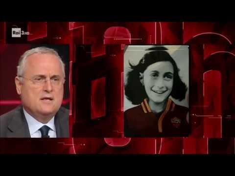 Claudio Lotito sulla vicenda degli adesivi con l'immagine di Anna Frank - #cartabianca 24/10/2017
