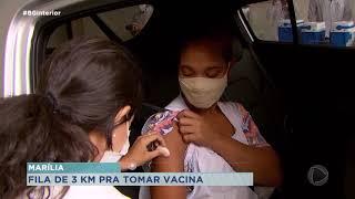 Vacinação de idosos ainda de 77 anos, gerou fila de mais de três quilômetros na manhã de hoje