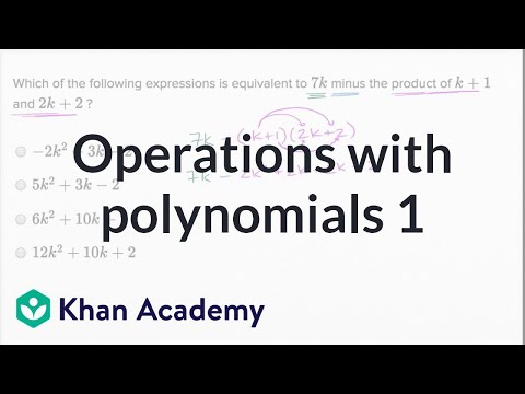 Operations With Polynomials Basic Example Video Khan Academy