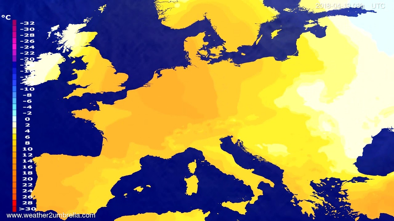 Temperature forecast Europe 2018-04-16
