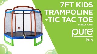 Pure Fun - 7ft Kids Trampoline with Enclosure + TicTacToe