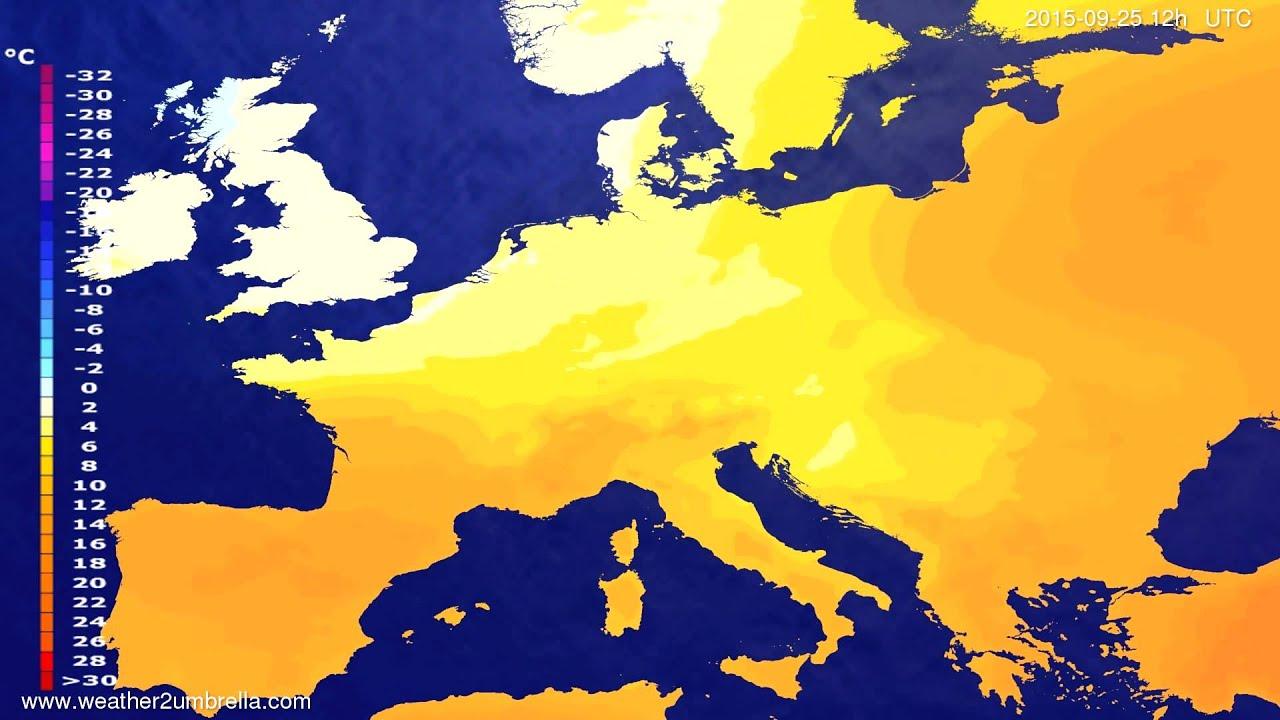 Temperature forecast Europe 2015-09-21