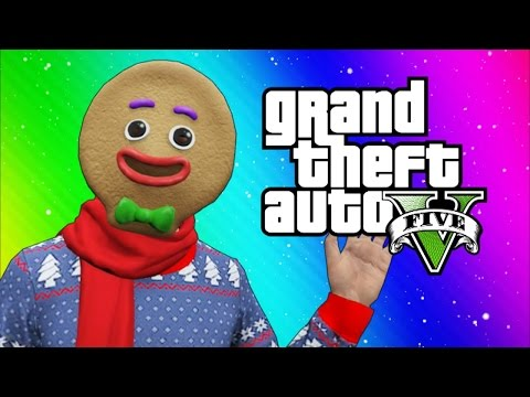 GTA 5 Online Funny Moments - Snow in Los Santos! (Snowball fights, Going to the North Pole) (видео)