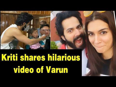 Kriti Sanon shares hilarious video of Varun from bhediya sets.