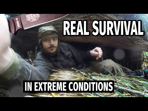 6 day Survival (NO FOOD / Knife & paracord Only) in RAINSTORM: Shelter & Fire Making