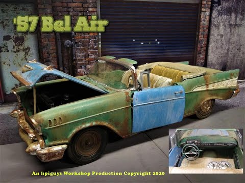 1957 Chevy Bel Air Convertible 283 V8 1/16 Scale Model Kit Build Review and Weathering AMT1159 AMT