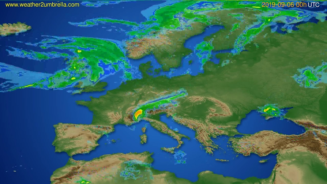 Radar forecast Europe // modelrun: 12h UTC 2019-09-05
