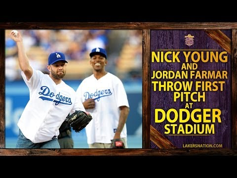 Video: Laker Nick Young And Jordan Farmar Throw Out First Pitch At Dodgers Game