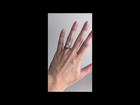 Sapphire Halo Engagement Ring & Coordinating Wedding Band