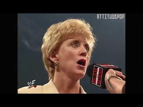 Triple H vs Linda and Shane McMahon w The Rock ,Linda Slaps Stephanie!