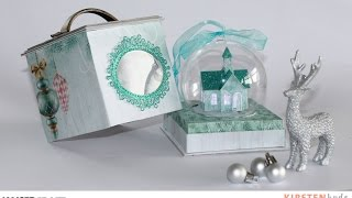 This is show globe ornament created with Kaisercraft's Christmas wishes collection. The snow globe has a little glitter house church with light inside.