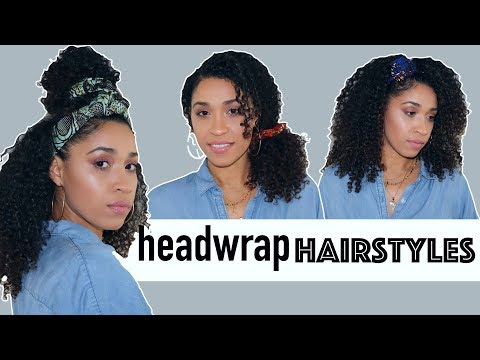 Curly hairstyles - EASY HEADWRAP HAIRSTYLE TUTORIAL for CURLY HAIR