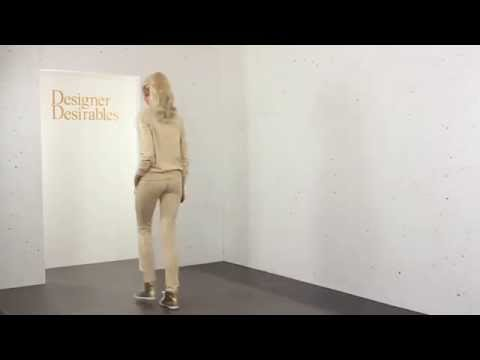 Beige Stretch Fit Tracksuit With Gold Beads & Sequins