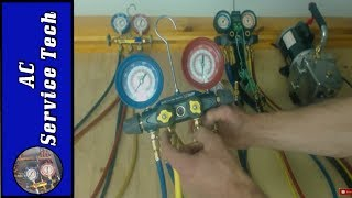 "In this HVAC Video I go over Refrigerant Manifold Gauge Set Comparisons and Operation as well as other tools such as the Quick Connect Gauge, Vacuum Pump, and Valve Core Removal Tool. I go over the Yellow Jacket Brute II Manifold Gauge Set, the Yellow Jacket 2 Valve Manifold Gauge Set. and the Hilmor 4 Valve 4 Port Set, I show you why I use each of them and I give comparisons on each model. I go over procedures that I perform with the gauge manifold sets as well as other tips!Supervision is needed by a licensed HVAC Tech while doing this as Experience and Apprenticeship garners Wisdom and Safety.These Videos are all part of our Training Series on HVACR Service, Installation, Preventative Maintenance, General Knowledge, and Tips. Please comment and ask for videos that you would like to see in the future! We come out with new videos every few days from my job sites, service calls, and the training shop! I hope you enjoy and find them very beneficial! See you next time at ACSERVICETECH Channel!ACSERVICETECH is a participant in the Amazon Services LLC Associates Program, an affiliate advertising program designed to provide a means for sites to earn advertising fees by advertising and linking to Amazon.com.You can enter Amazon through this Affiliate Link found here or in the "" Discussion"" Channel Page Comments http://amzn.to/2aenwTqPrices are the same as usual. (Link has to be clicked on from an ACSERVICETECH YouTube source and not cut and pasted)Here is a link to the Brute II 4 Port Manifold Gauge Set with hoses-   http://amzn.to/2qKungfHere is a link to the Hilmor 4 port Aluminum Manifold Gauge Set-  http://amzn.to/2m4QLikYellow Jacket Quick Coupler-  http://amzn.to/2s3GVTGJB Quick Connect Test Gauge High Side-  http://amzn.to/2ruQb0lJB Quick Connect Test Gauge Low Side-  http://amzn.to/2qR0utMHere is a link to the UEI DL389 Multimeter used in the video  http://amzn.to/2av8s3qHere is a link to Refrigerant hoses with valves used in the videos  http://amzn.to/2aBumVI   Here is the Link for the Yellow Jacket Refrigerant Manifold Gauge Set used in the videos http://amzn.to/2aenwTqHere is a link to the C&D core removal tool  http://amzn.to/2bFpHere is a link to the JB 6 CFM Vacuum Pump   http://amzn.to/2nqbvo8Here is the link to the Fieldpiece SDMN6 Dual Pressure Testing Manometer with Pump-http://amzn.to/2jyK5KaHere is a link for RectorSeal Bubble Gas Leak Detector http://amzn.to/2ckWACnHere is a link to the Air Acetylene Torch setup-    http://amzn.to/2aQalsb  Here is a link the Nitrogen Regulator    http://amzn.to/2bXdR5fHere is a link to the Nitrogen Flow Meter    http://amzn.to/2brvoBgHere is a link for the Supco Magnet Jumpers http://amzn.to/2gS4h6zHere is a link to the Digital Refrigerant Scale used in the videohttp://amzn.to/2b9oXYlHere is a link to the thermostat 3/32 screwdriver --  http://amzn.to/2hxt7uKHere is a link to the JB Platinum 5 CFM Vacuum Pump with Valve  http://amzn.to/2mGKcShHere is a link to 1 gallon of JB Vacuum Pump Oil   http://amzn.to/2mGrlXyHere is a link to the SobQupco Vacuum Micron Gauge  http://amzn.to/2bH98bOHere is a link to the 1/4"" by 1/4"" female coupler from Supco - http://amzn.to/2kFrbU9Here is a link the Nitrogen Regulator    http://amzn.to/2bXdR5fHere is a link to the Nitrogen Flow Meter    http://amzn.to/2brvoBgHere is a link to the General Tools digital Psychrometer http://amzn.to/2cSHsi1Here is a link to the Amprobe Digital Psychrometer http://amzn.to/2d7cGkWHere is a link to the Fieldpiece SDP2 Digital Psychrometer- http://amzn.to/2nniMVRHere is the link for the Ratcheting Service Wrench   http://amzn.to/2dGV4NhHere is a link to the Appion G5 Twin Recovery Pump   http://amzn.to/2dGSEyr Here is a link to the Wiss Right Tin Snips-   http://amzn.to/2rGnBvXHere is a link to the Wiss Bulldog snips-   http://amzn.to/2rd1Dz5Here is a link to the Malco 90 Degree Right Hand Vertical Snips-   http://amzn.to/2qHHpu4Here is a link to the Malco 90 Degree Left Hand Vertical Snips-   http://amzn.to/2qHF564Here is the link for the Malco 3"" Blade Combination Snips-   http://amzn.to/2dz7EjcHere is a link to the Wiss 12"" Folding Tool/Breaker Bar-   http://amzn.to/2qD3LxiHere is a link to the Wiss 18"" Folding Tool/Breaker Bar-   http://amzn.to/2sg8EOcHere is a link to the Malco Snap Lock Punch-   http://amzn.to/2cY53AgHere is a link to the Wiss 3 Pack Tin Snips-   http://amzn.to/2bHWhWOHere is a link to the Wiss 5 Blade Crimper-   http://amzn.to/2bwTlsWHere is a link to the Wiss Hand Seamers-    http://amzn.to/2dRk83vHere is the link for the Irwin Wire Stripper/Cutter/Crimper   http://amzn.to/2dGTj2VThanks for your support! I believe this to be the verybest price I have found. Please let me know if anyone finds a lower price anywhere!Thank You, ACSERVICETECH"