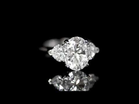 GIA Certified 3.02ct Oval Brilliant Cut Diamond Ring