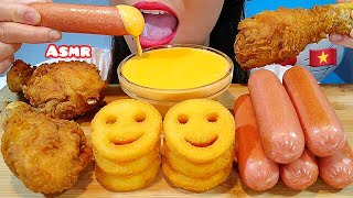 ASMR EATING FRIED CHICKEN, SAUSAGES, POTATO SMILEY FRIES & CHEESE SAUCE 먹방 Real Sounds