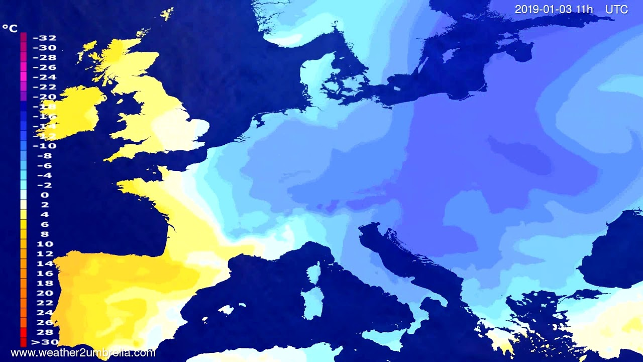 Temperature forecast Europe 2018-12-30