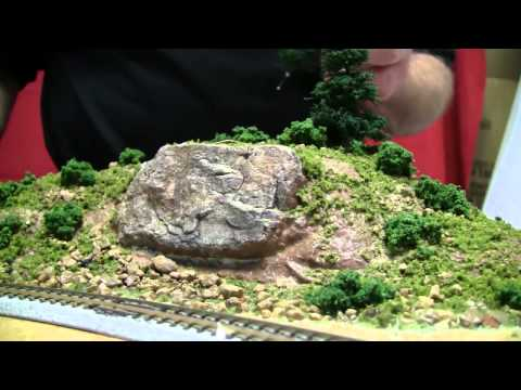 Basic Model Train Scenery Tutorial #2 – Using color pigment on a rock formation