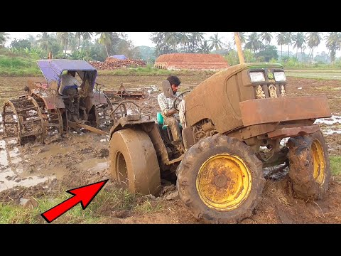 John Deere Tractor Stuck In Mud Get Helps Mahindra Tractor with Cage Wheels | Tractor Videos
