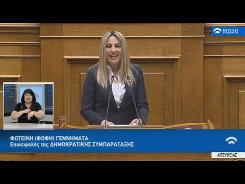 Απόσπασμα ομιλίας της Φ. Γεννηματά στην Βουλή