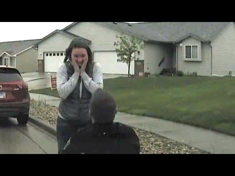 Police Officer Pulls Over Girlfriend for Surprise Roadside Proposal