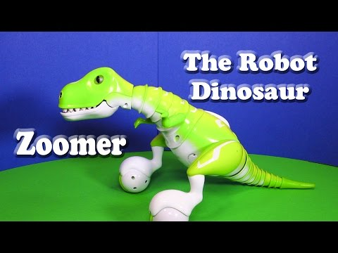 video review - Spinmanster has created Zoomer the robotic dinosaur. Zoomer looks and acts like a real pet dinosaur - he can be sweet like a puppy, but he can also get upset (watch when his eyes turn red)....