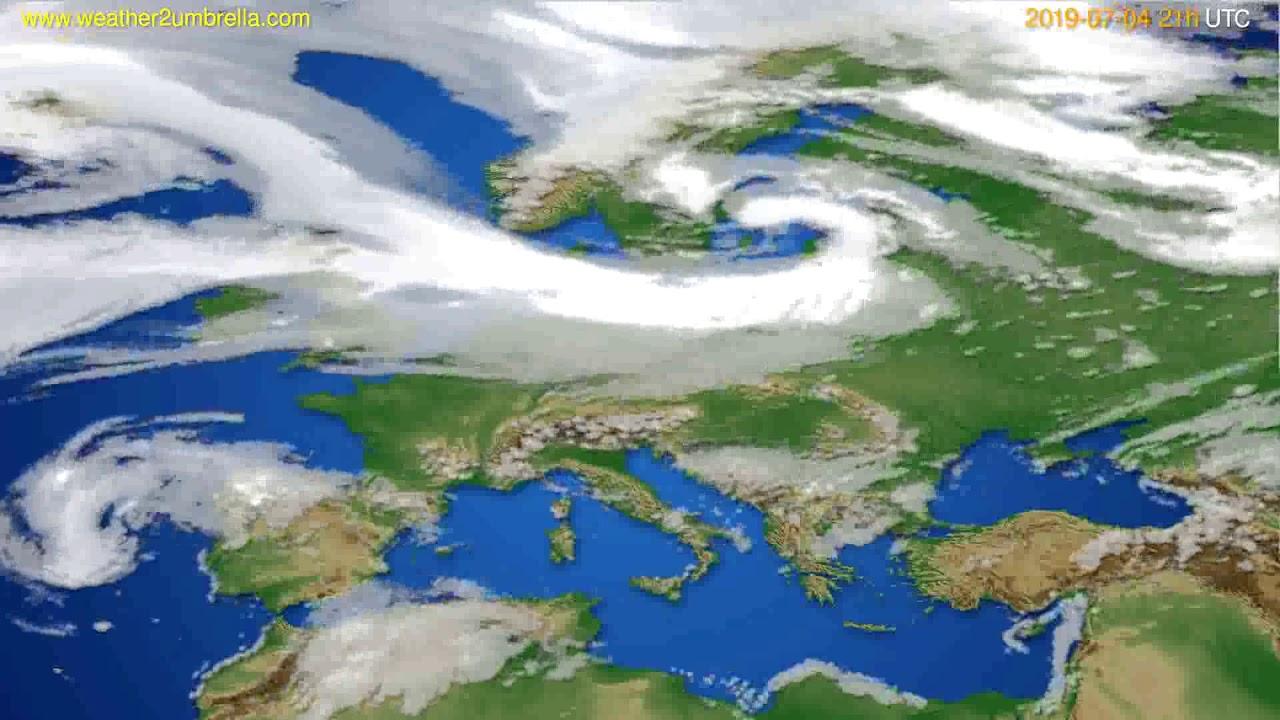 Cloud forecast Europe // modelrun: 00h UTC 2019-07-03