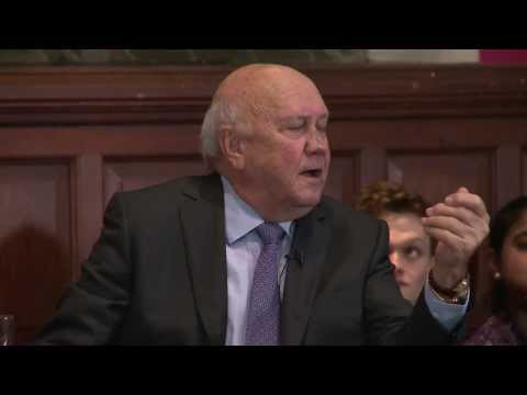 F.W. De Klerk | Apartheid Indefensible | Oxford Union