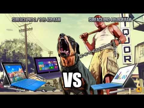 GTA 5 - Surface Pro 4 i5 vs Surface Pro 3 i5 - Intel hd 4400 4gb ram / intel hd 520 8gb ram