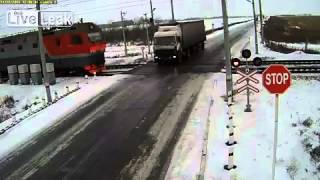 Irkutsk Russia  city pictures gallery : NEW Lucky Driver vs. Train at railcrossing in Irkutsk, Russia [Real Life Stuntman]