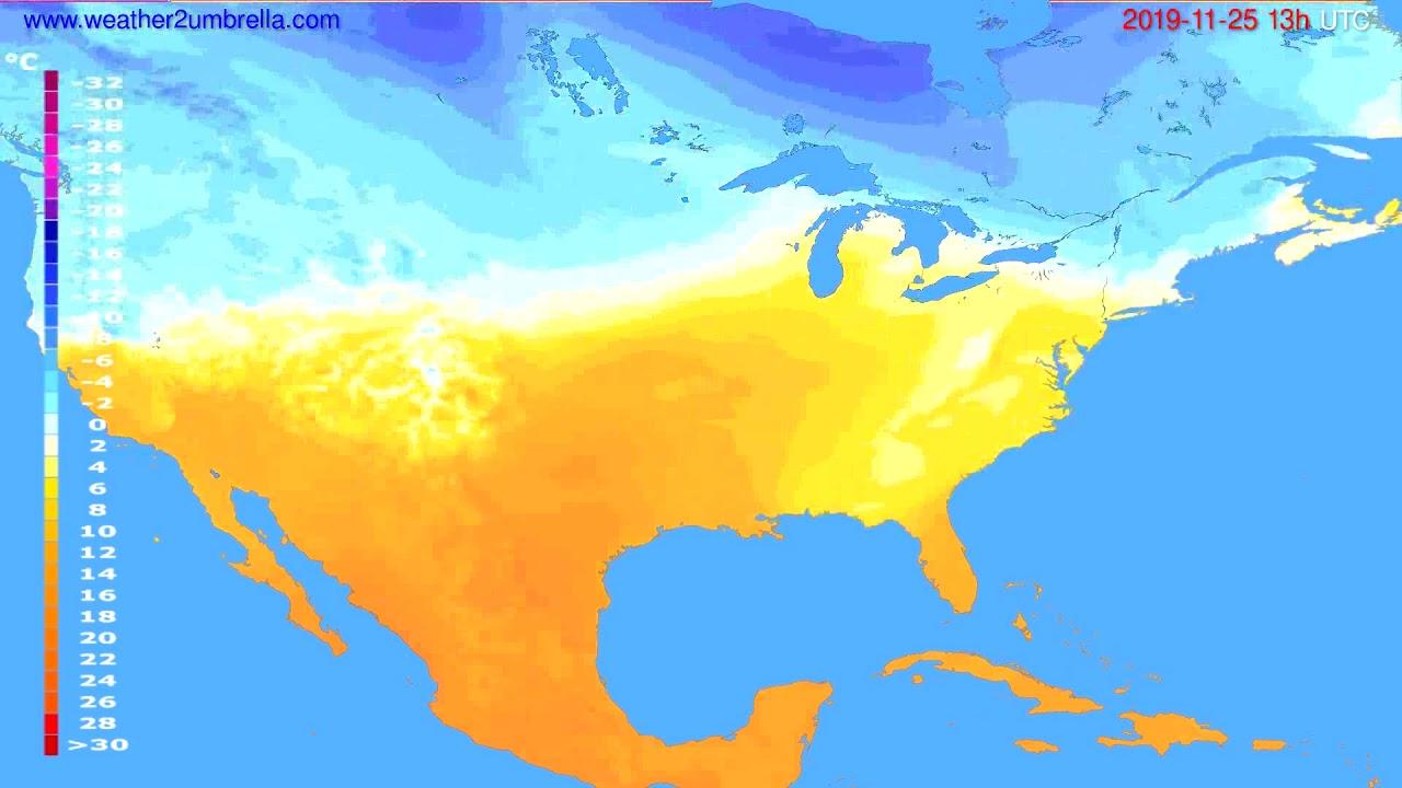 Temperature forecast USA & Canada // modelrun: 00h UTC 2019-11-24