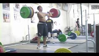 DeAngelo Osorio works up to 180kg in the clean at Catalyst Athletics. -
