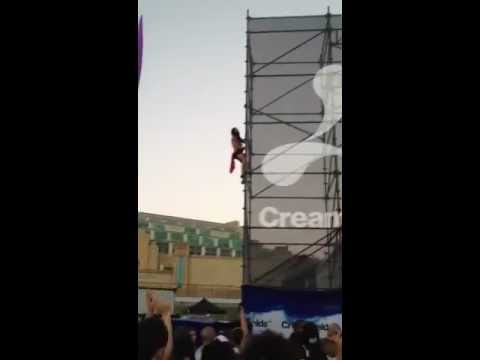 creamfields - Guy on drugs falls off scaffolding at creamfields 2012. I was using my iPhone to record this, hence why the video turns to the side when i go back to Alesso....