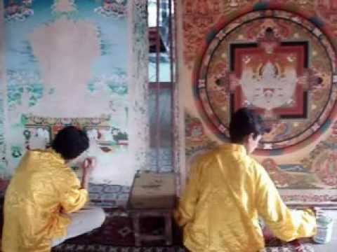 Thangka painting making process