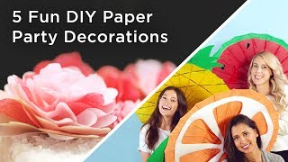 5 fun DIY paper party decorations anyone can make!___CONNECT WITH KIN COMMUNITYSubscribe here: http://bit.ly/MKYoureInvitedFacebook: https://www.facebook.com/KinCommunityPinterest: https://www.pinterest.com/kincommunityTwitter: https://twitter.com/kincommunityInstagram: https://instagram.com/kincommunitySnapchat: http://bit.ly/AddKinYour source for new skills, new stuff, and new perspectives related to the most important place in the world, Home. Make your way home with Kin Community.