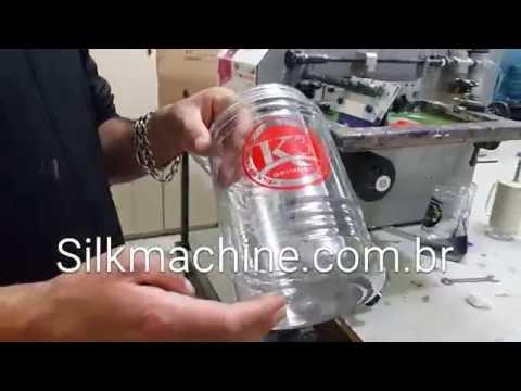 Impressão Serigráfica em pote plástico com a máquina de Silk Screen Silk Machine