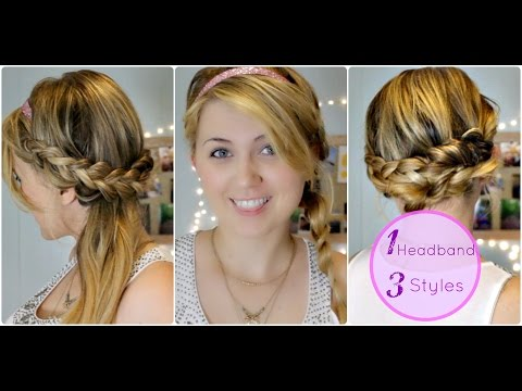 Three Easy Heatless Braided Hairstyles With Headbands For Medium to Long Hair