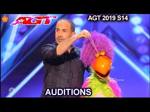Michael Paul Ventriloquist & Pooping Bird Puppet Willie AWESOME| America's Got Talent 2019 Audition