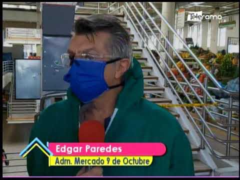 Mercado 9 de Octubre atiende bajo medidas de bioseguridad