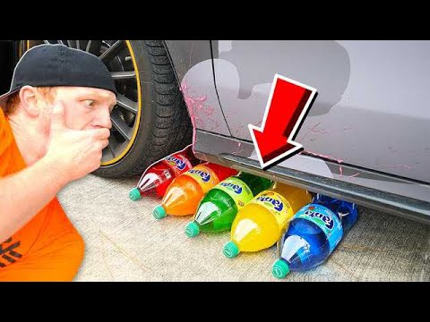 CRUSHING SODA WITH MY CAR! CRUNCHY, SOFT, SQUISHY AND MORE!