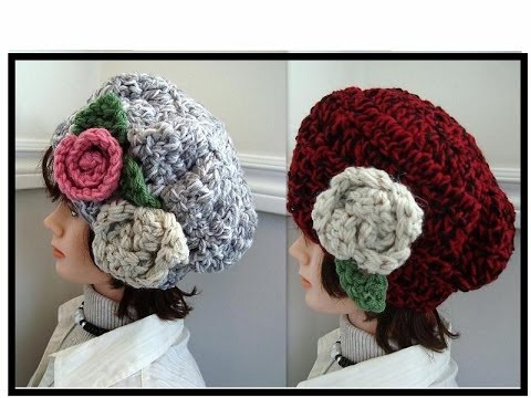 Chunky Style Hat, CROCHET PATTERN, with flowers, how to diy, free video tutorial