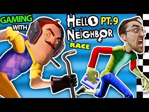 HELLO NEIGHBOR vs. ME! BASEMENT RACE CHALLENGE IRL GAMING! Alpha 3 SECRETS REVEALED? (FGTEEV Part 9) (видео)